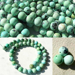 "Robin Egg Blue Natural USA 10-11mm Turquoise Round 18 Bead 8"" Strand 7416BHS - PremiumBead"