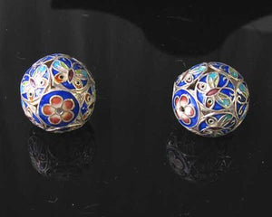 1 Fine Silver Cloisonne Butterfly 19mm Round Bead 10285 - PremiumBead Primary Image 1