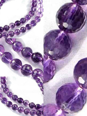 3 Royal Natural 10mm Faceted Round Amethyst 9384 - PremiumBead Primary Image 1