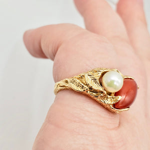Natural Red Coral & Pearl Carved Solid 14Kt Yellow Gold Ring Size 5.75 9982D - PremiumBead Alternate Image 2