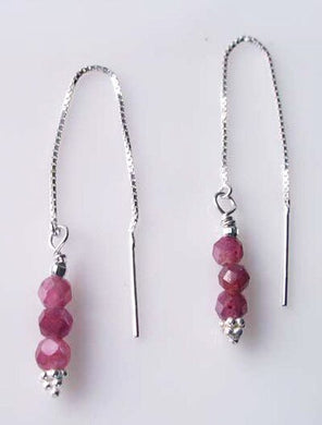 Glam Natural Purple Red Sapphire & Sterling Silver Earrings 306618Cc - PremiumBead Primary Image 1