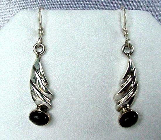 Unique! Onyx Flame Solid Sterling Silver Earrings 004725 - PremiumBead
