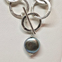 Load image into Gallery viewer, Perfect Moonrise Freshwater Pearl and Silver Circle Chain Necklace 209408 - PremiumBead