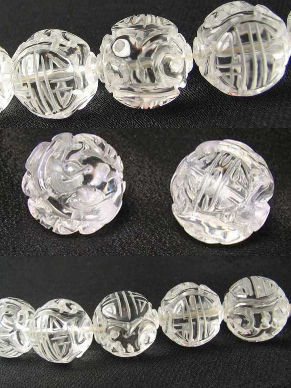 1 Unique Hand Carved Long Life Natural Quartz 20mm 10357 | 20mm | Clear - PremiumBead Primary Image 1
