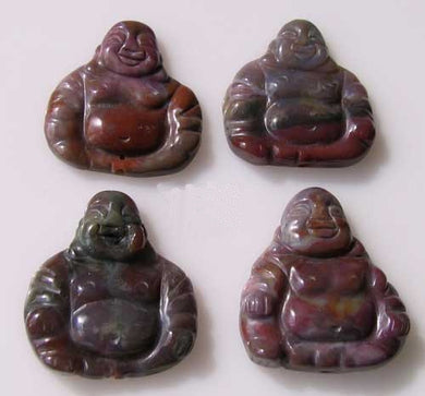 Exotic Fancy Jasper Hand Carved Buddha Bead | 33x30x7mm | Red Grey - PremiumBead Primary Image 1