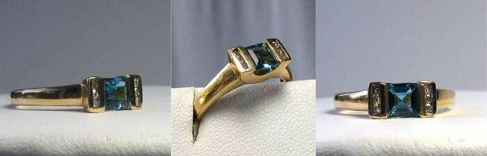 Blue topaz & Diamonds Solid 14Kt Yellow Gold Ring Size 7 9982Aj - PremiumBead Primary Image 1