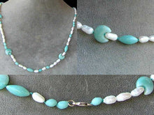 Load image into Gallery viewer, Cream Pearl and Amazonite Necklace Celebrating ~The Moon Goddess~ 6141 - PremiumBead