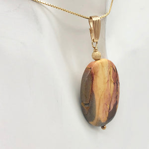 Ancient Forests Mookaite 30x20mm Oval 14k Gold Filled Pendant, 2 inches 506765B - PremiumBead Alternate Image 3