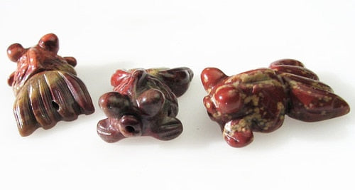 Wondrous 2 Carved Brecciated Jasper Gold Fish Beads | 23x11x5mm | Red - PremiumBead