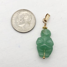 "Load image into Gallery viewer, Aventurine Goddess of Willendorf 14Kgf Pendant |1.38"" Long 