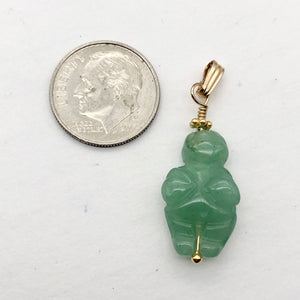 "Aventurine Goddess of Willendorf 14Kgf Pendant |1.38"" Long 