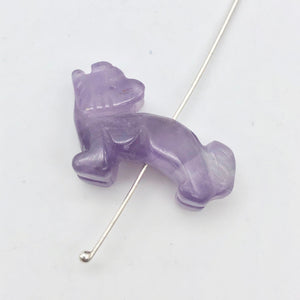 Howling 2 Carved Amethyst Standing Wolf / Coyote Beads | 22x16x8mm | Purple - PremiumBead Alternate Image 4