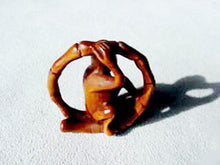 Load image into Gallery viewer, Swingin Carved & Signed Boxwood Monkey Ojime/Netsuke Bead | 22x21x11m | Brown - PremiumBead
