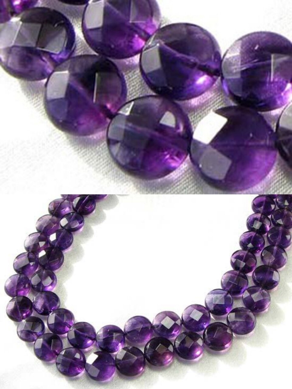 3 Royal Natural 10mm Amethyst Coin 9431 - PremiumBead