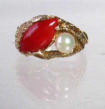 Load image into Gallery viewer, Natural Red Coral & Pearl Carved Solid 14Kt Yellow Gold Ring Size 5.75 9982D - PremiumBead Alternate Image 5