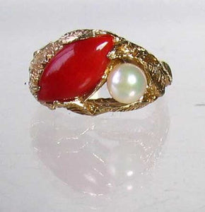 Natural Red Coral & Pearl Carved Solid 14Kt Yellow Gold Ring Size 5.75 9982D - PremiumBead Alternate Image 5