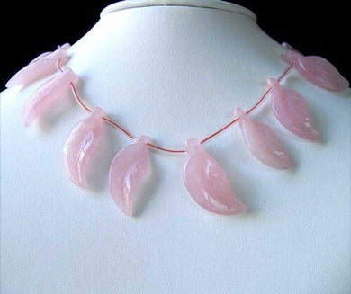 Carved Rose Quartz Leaf Briolette Bead 8 inch Strand 10502A - PremiumBead Primary Image 1
