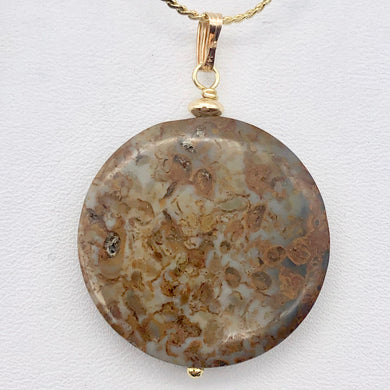 AutumnLeaves Druzy Ocean Jasper 14K Gold Filled Pendant | 30mm | 1 3/4