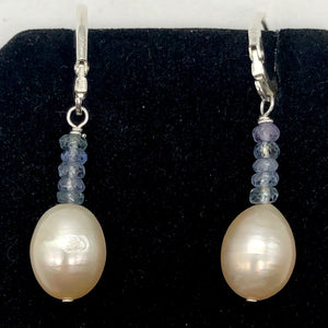 AAA Natural Pink 14x10mm Pearl and Blue Sapphires Solid Sterling Silver Earrings - PremiumBead Alternate Image 2