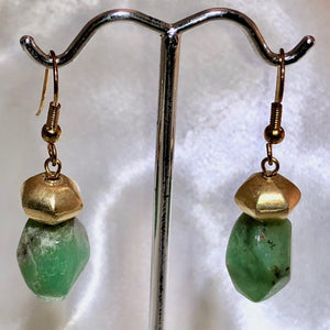 Chrysoprase and 22K Vermeil Earrings #300025 - PremiumBead Alternate Image 2