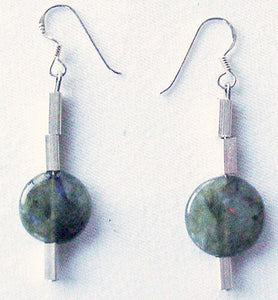 Unique Labradorite Disc and Sterling Silver Earrings 300015 - PremiumBead