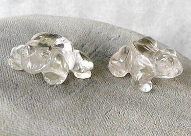 Prosperity 2 Hand Carved Clear Quartz Frog Beads | 20x18x9.5mm | Clear - PremiumBead