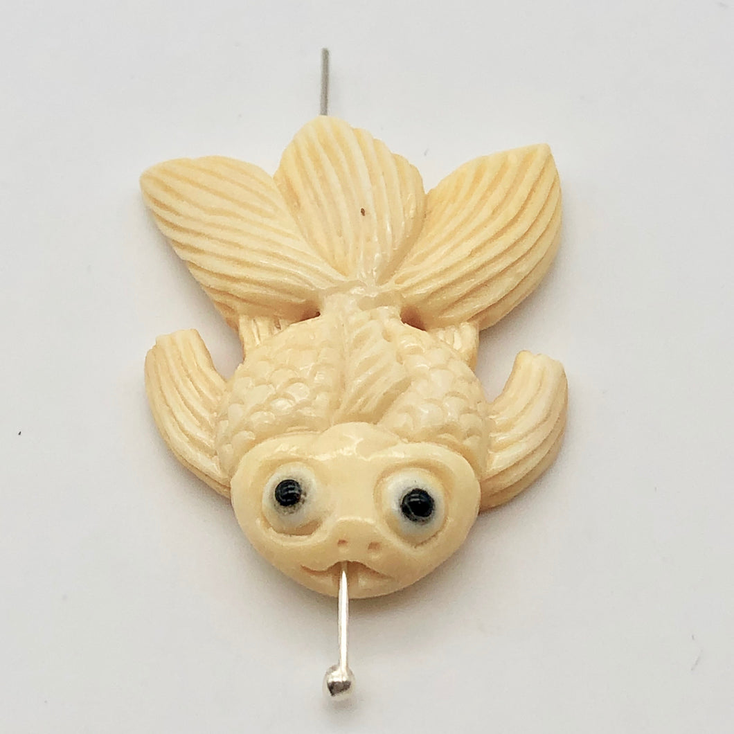 Swim Carved Goldfish Koi or Carp Bone Bead 10749 | 36x30x6mm | Cream - PremiumBead Primary Image 1
