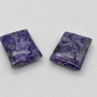80cts of Rare Rectangular Pillow Charoite Beads | 2 Beads | 26x19x8mm | 10871A - PremiumBead