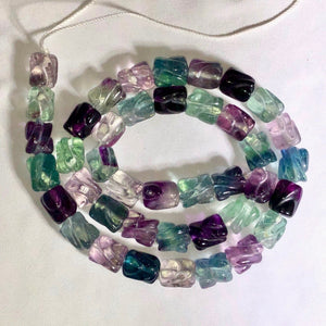 Premium Carved Tube Fluorite Beads | 2 Beads | 10x8mm | Purple/Blue/Green/Clear - PremiumBead