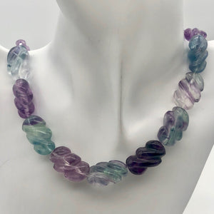 Magical! 3 Carved Fluorite Oval Beads - PremiumBead
