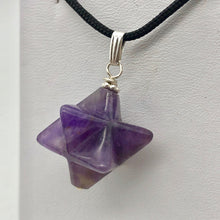 Load image into Gallery viewer, Kabbalah Carved Amethyst Merkaba Star and Sterling Silver Pendant 509288AMS - PremiumBead