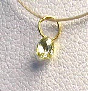0.21cts Natural Canary 3x2.5x2mm Diamond 18K Gold Pendant 8798P - PremiumBead Alternate Image 2