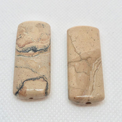 Earthy Leopard Skin Jasper Rectangle Bead 006820 - PremiumBead