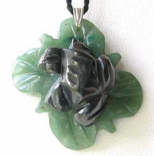 Load image into Gallery viewer, Ribbit Hematite Frog On Aventurine Lily pad Pendant | 28x28.5x11mm | Silver black - PremiumBead
