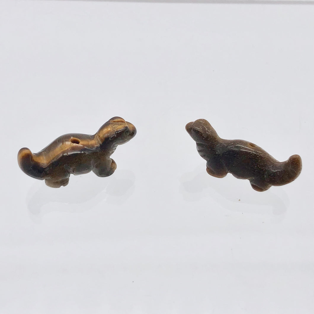 Dinosaur 2 Carved Tiger's Eye Diplodocus Beads | 25x11.5x7.5mm | Golden - PremiumBead
