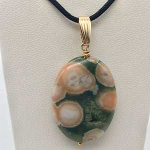 Ocean Jasper 32x25mm Oval and 14K gold-filled Pendant 510561B - PremiumBead