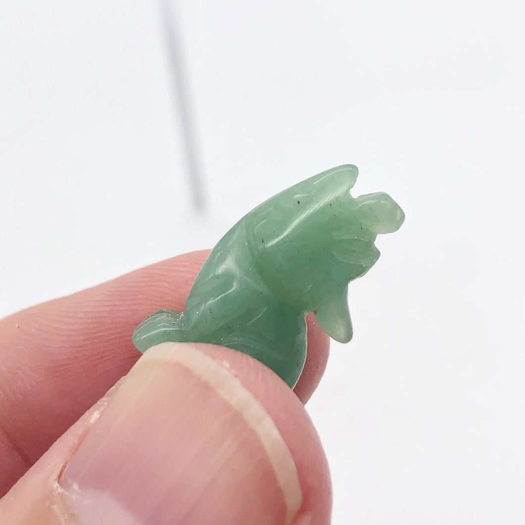 Howling New Moon Carved Aventurine Wolf/Coyote Figurine | 22x12x7.5mm | Green - PremiumBead