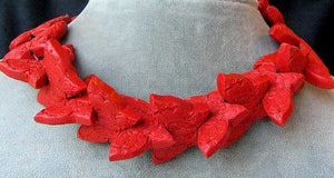 1 Carved Red Cinnabar Butterfly Bead | 34.5x23x7mm | Red - PremiumBead