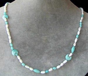 Cream Pearl and Amazonite Necklace Celebrating ~The Moon Goddess~ 6141 - PremiumBead