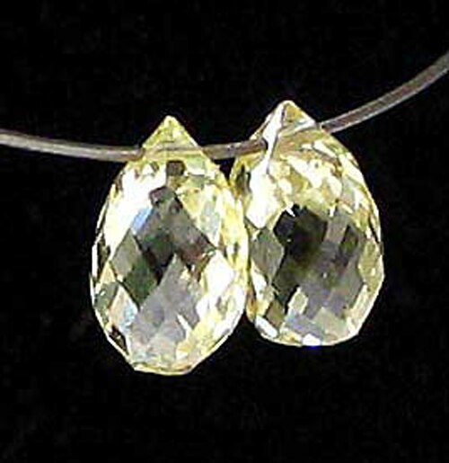 Natural .49cts Canary Diamond 4x2.75mm Briolette Beads Pair 6120 - PremiumBead Primary Image 1