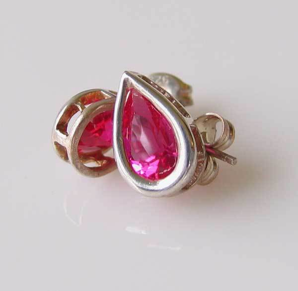 July! Pear 11x7mm Created Red Ruby 925 Sterling Silver Stud Earrings 10154G - PremiumBead Primary Image 1