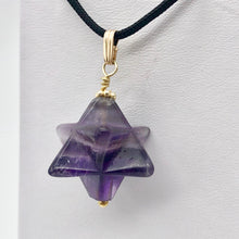 Load image into Gallery viewer, Kabbalah Carved Amethyst Merkaba Star and 14K Gold Filled Pendant 509288AMG - PremiumBead