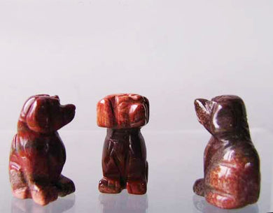 Faithful 2 Brecciated Jasper Hand Carved Dog Beads | 22x15x15mm | Red - PremiumBead Primary Image 1