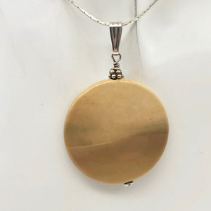 "Natural Golden Mookaite Coin w/ Sterling Silver Pendant | 36mm | 2.19"" Long - PremiumBead"