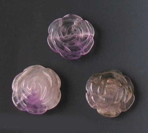 Bloomer 2 Carved Amethyst Rose Flower Beads 009290Aml - PremiumBead