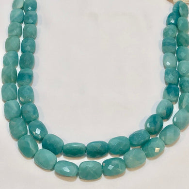 Gem Quality Faceted Amazonite 14x10x7mm Rectangle Bead Strand - PremiumBead