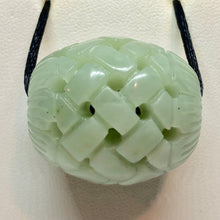 Load image into Gallery viewer, Basket Weave Carved 30x26mm Jade Barrel Bead 10798 | 30x26mm | Green - PremiumBead