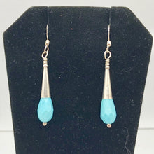 "Load image into Gallery viewer, Natural Blue Turquoise and Silver Earrings |Turquoise|1.75"" (long)