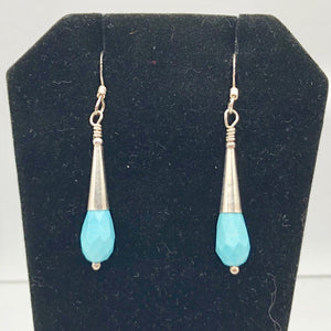 "Natural Blue Turquoise and Silver Earrings |Turquoise|1.75"" (long)