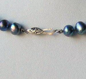 Blue Peacock Baroque Freshwater Pearl & Silver 22 inch Necklace 9814 - PremiumBead Alternate Image 4